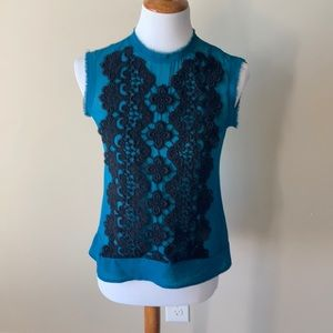 Nanette Lepore sheer teal shell with black lace